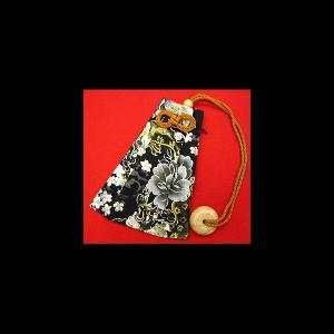 金彩唐獅子牡丹と桜吹雪(黒) 和柄腰下げ巾着|matsuriya-sonami
