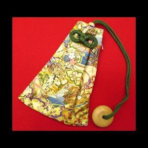 金彩檜扇(金ベージュ) 和柄腰下げ巾着|matsuriya-sonami