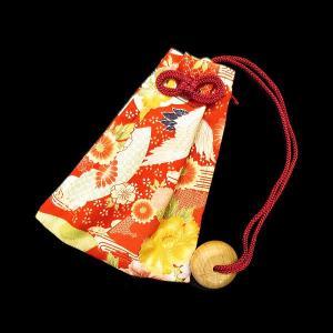 花と鶴(赤) 和柄腰下げ巾着|matsuriya-sonami