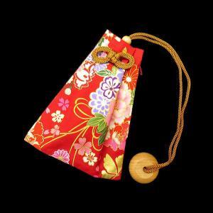 金彩 花くす玉(赤) 和柄腰下げ巾着|matsuriya-sonami
