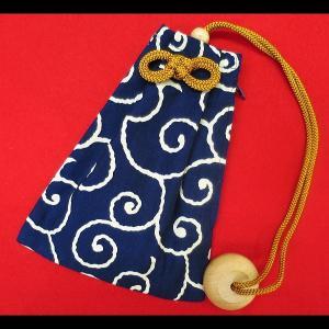 唐草・からくさ(紺) 和柄腰下げ巾着|matsuriya-sonami