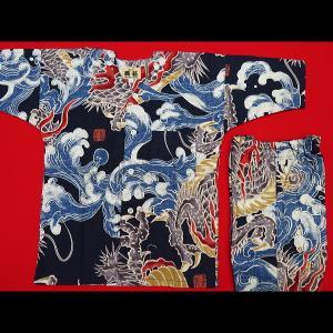 送料無料 大荒波に龍(紺)1号〜3号サイズ(90〜110)子供鯉口シャツ上下組 義若オリジナル|matsuriya-sonami