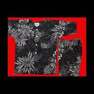 送料無料 乱菊と唐草(黒)1号〜3号サイズ(90〜110)子供鯉口シャツ上下組 義若オリジナル|matsuriya-sonami
