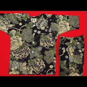 送料無料 金彩牡丹と桜(黒カーキ)4号〜5号サイズ(120〜130)子供鯉口シャツ上下組 義若オリジナル|matsuriya-sonami