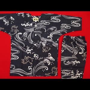 送料無料  波うさぎ(黒)4号〜5号サイズ(120〜130)子供鯉口シャツ上下組 義若オリジナル|matsuriya-sonami
