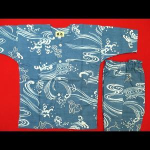 送料無料  波うさぎ(渋青)4号〜5号サイズ(120〜130)子供鯉口シャツ上下組 義若オリジナル|matsuriya-sonami