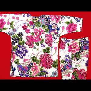 送料無料 金彩牡丹と桜(白ピンク紫)4号〜5号サイズ(120〜130)子供鯉口シャツ上下組 義若オリジナル|matsuriya-sonami