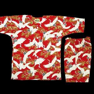 送料無料 飛翔鶴と松 (赤)1号〜3号サイズ(90〜110)子供鯉口シャツ上下組 義若オリジナル|matsuriya-sonami