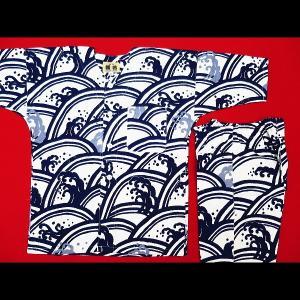 送料無料 青海波に波濤(白紺)1号〜3号サイズ(90〜110)子供鯉口シャツ上下組 義若オリジナル|matsuriya-sonami