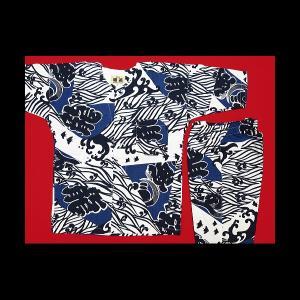 送料無料 波に千鳥・龍の字(白紺)1号〜3号サイズ(90〜110)子供鯉口シャツ上下組 義若オリジナル|matsuriya-sonami