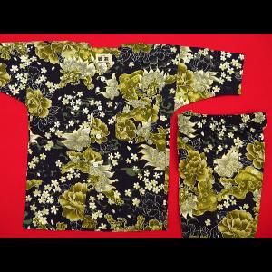 送料無料 金彩唐獅子牡丹と桜吹雪(黒カラシ)1号〜3号サイズ(90〜110)子供鯉口シャツ上下組 義若オリジナル|matsuriya-sonami