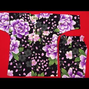 送料無料 金彩桜吹雪に大牡丹(黒紫)4号〜5号サイズ(120〜130)子供鯉口シャツ上下組 義若オリジナル|matsuriya-sonami