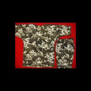 送料無料 黄金波(黒)4号〜5号サイズ(120〜130)子供鯉口シャツ上下組 義若オリジナル|matsuriya-sonami