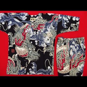 送料無料 大荒波に龍(黒赤)4号〜5号サイズ(120〜130)子供鯉口シャツ上下組 義若オリジナル|matsuriya-sonami
