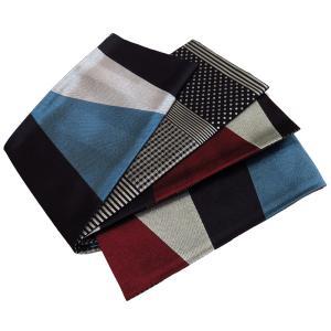 撫松庵の帯 大柄幾何 (赤×青磁) ゆかた帯|matsuriya-sonami