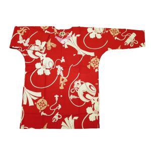 宝尽くし・小槌(赤)大人鯉口シャツ単品 男女兼用 義若オリジナル matsuriya-sonami