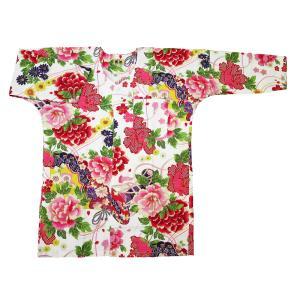 金彩牡丹と桜(赤白)大人鯉口シャツ単品 男女兼用 義若オリジナル matsuriya-sonami