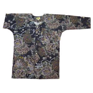金彩牡丹と桜(藍黒)大人鯉口シャツ単品 男女兼用 義若オリジナル matsuriya-sonami