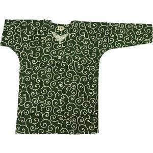 唐草・からくさ(渋抹茶緑)大人鯉口シャツ単品 男女兼用 義若オリジナル matsuriya-sonami
