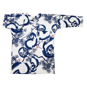 福だるまと松(白青) 大人鯉口シャツ単品 男女兼用 義若オリジナル matsuriya-sonami
