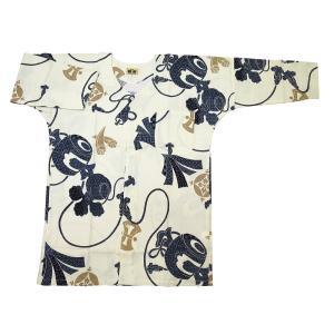 宝尽くし・小槌(白・生成り)大人鯉口シャツ単品 男女兼用 義若オリジナル matsuriya-sonami