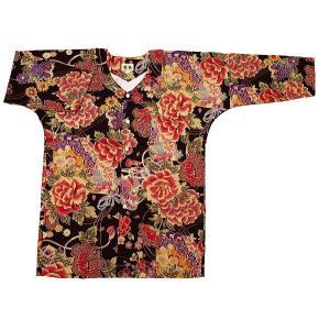 金彩牡丹と桜(黒赤)超巾広サイズ(4L) 大人鯉口シャツ単品 男女兼用 義若オリジナル matsuriya-sonami