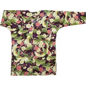 金彩吉祥鶴に梅と松(紫)大人鯉口シャツ単品 男女兼用 義若オリジナル matsuriya-sonami