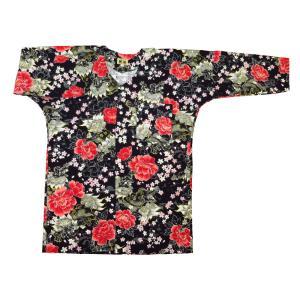 金彩唐獅子牡丹と桜吹雪(黒赤)大人鯉口シャツ単品 男女兼用 義若オリジナル matsuriya-sonami