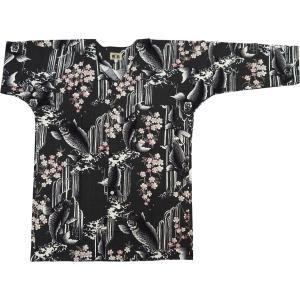 鯉の滝昇り(鉄黒ピンク)大人鯉口シャツ単品 男女兼用 義若オリジナル matsuriya-sonami
