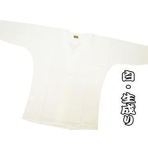 義若の綿紬(白・生成り) 大人鯉口シャツ単品 男女兼用 義若オリジナル|matsuriya-sonami