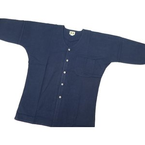 義若の綿紬(紺)巾広サイズ(3L) 大人鯉口シャツ単品 男女兼用 義若オリジナル|matsuriya-sonami