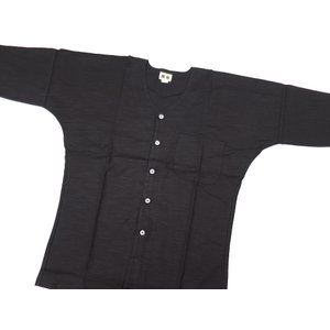 義若の綿紬(黒)巾広サイズ(3L) 大人鯉口シャツ単品 男女兼用 義若オリジナル|matsuriya-sonami