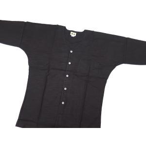 義若の綿紬(黒)超巾広サイズ(4L) 大人鯉口シャツ単品 男女兼用 義若オリジナル|matsuriya-sonami