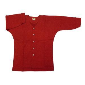 義若のむら染め(渋赤 エンジ) 大人鯉口シャツ単品 男女兼用 義若オリジナル|matsuriya-sonami