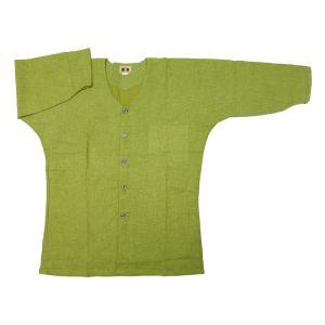 義若のむら染め(抹茶グリーン) 大人鯉口シャツ単品 男女兼用 義若オリジナル|matsuriya-sonami