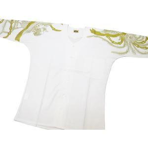 義若の綿紬に金彩鳳凰(白に金)巾広サイズ(3L) 大人鯉口シャツ単品 男女兼用 義若オリジナル matsuriya-sonami