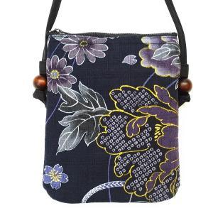 金彩牡丹と桜(藍黒)和柄お祭りショルダーポシェット|matsuriya-sonami