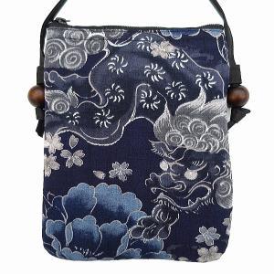 銀彩唐獅子牡丹と桜吹雪(渋藍紺)和柄お祭りショルダーポシェット|matsuriya-sonami