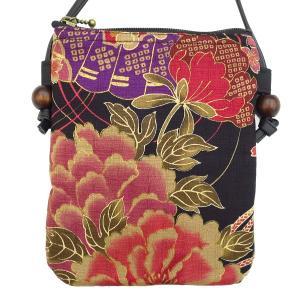 金彩牡丹と桜(黒赤)  和柄!お祭りショルダーポシェット【大】 matsuriya-sonami