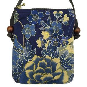 金彩牡丹と桜(藍紺)お祭りショルダーポシェット【大】 matsuriya-sonami