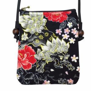 金彩唐獅子牡丹に桜吹雪(黒赤)  お祭りショルダーポシェット【大】|matsuriya-sonami