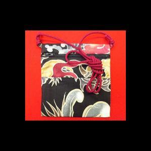 大荒波に天空龍(黒) 和柄お祭り万能ポシェット|matsuriya-sonami