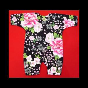 送料無料 金彩桜吹雪に大牡丹(黒ピンク)0号サイズ(80) お祭りロンパース 義若オリジナル matsuriya-sonami