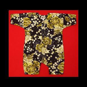 送料無料 金彩唐獅子牡丹と桜吹雪(黒カラシ)0号サイズ(80) お祭りロンパース 義若オリジナル matsuriya-sonami