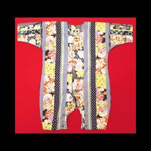 送料無料 彩り花縞模様(黒グレー)0号サイズ(80) お祭りロンパース 義若オリジナル matsuriya-sonami