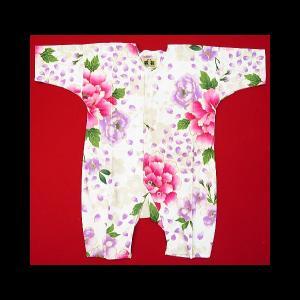 送料無料 金彩桜吹雪に大牡丹(白ピンク紫)0号サイズ(80) お祭りロンパース 義若オリジナル matsuriya-sonami