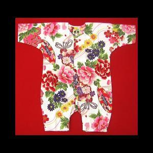 送料無料 金彩牡丹と桜(赤白)0号サイズ(80) お祭りロンパース 義若オリジナル matsuriya-sonami