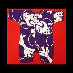 送料無料 宝尽くし・小槌(紫)0号サイズ(80) お祭りロンパース 義若オリジナル matsuriya-sonami