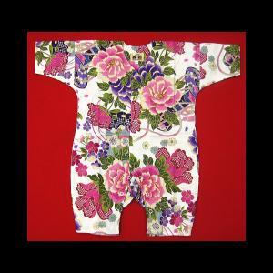 送料無料 金彩牡丹と桜(白ピンク紫)0号サイズ(80) お祭りロンパース 義若オリジナル matsuriya-sonami