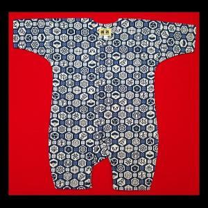 送料無料 亀甲小紋(鉄紺)0号サイズ(80) お祭りロンパース 義若オリジナル matsuriya-sonami